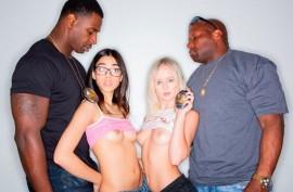 Молодые шлюшки Наталия Квин и Хармони Вандер нарушили закон и наказаны черными полицейскими