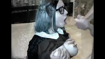 Подборка камшотов с русской грудастой подружкой в очках
